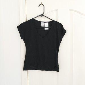 Nike Black Dri Fit V Neck Short Sleeve Top